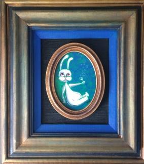 Tipsy Bunny, acrylic on Canvas, Tiny Paintig, Private Collection, Long Beach, Ca