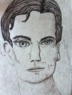 Square Jawed Gentelman, on fine handmade paper in ink, $38