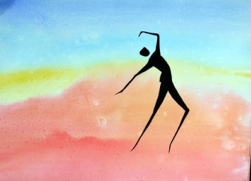 Dancing on Air, watercolor on paper, framed under glass, 16x20, matted, $160