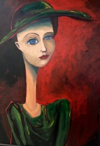 Green Hat, Acrylic on Canvas, $675