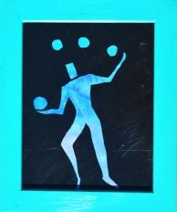 Midnight Juggler, Framed, Acrylic on canvas board, 11x14, $100