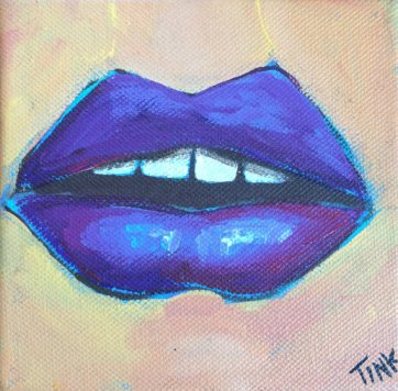 Mini Canvas, Purple lips, Acrylic, $30 on Etsy