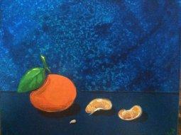 Tangerine Segments, Acrylic on Canvas Board, 8x10 $65 on Etsy