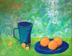 Tea and Tangerines, Acryic on Canvas Board, 16x20 $60